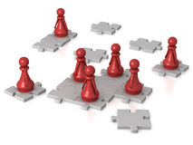 Pawns working together Royalty Free Stock Images