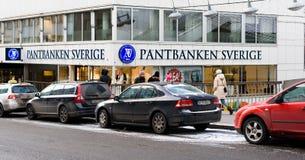 Pawnshop called Pantbanken Sverige. Stockholm, Sweden - January 5, 2016:  The exterior of the shopping street, Master Samuelsgatan in Stockholm city center with Stock Image