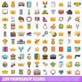 100 pawnshop icons set, cartoon style. 100 pawnshop icons set in cartoon style for any design vector illustration Royalty Free Stock Photos