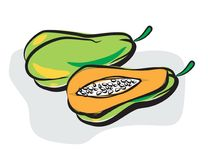 Pawpaw or papaya in doodle style Stock Photo
