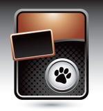 Pawprint op brons gestileerde reclame Stock Foto's