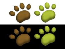 Paws. Green and brown paws on black background and white background Stock Photography