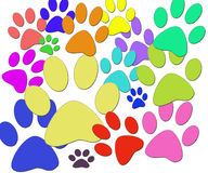 Paws. The cheerful image of multi-coloured paws of animals Royalty Free Stock Photo