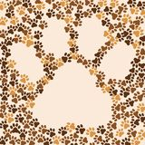 Paws animal, cat, dog background. Frame for text or image. Vector Royalty Free Stock Photos