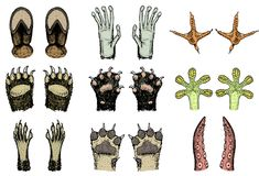 Paws of animals or footprints and wildlife. Bird and sea creatures, hands of monkey and dog, bear and frog, tentacles of. Octopus and cat, hoof of cow. Domestic Stock Image