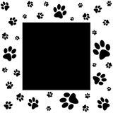Paws border. Animals paws frame with black space in center Royalty Free Stock Images
