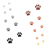 Paws footprints. Illustration animals paws print on a white background Stock Images