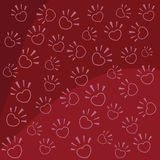 Paws in the form of heart. Vector illustration legs in the form of heart on a red background Stock Photography