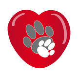 Paws with heart on white background Royalty Free Stock Photo
