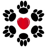 Paws with heart on white background. Vector illustration Stock Photo