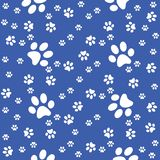 Paws seamless background, paws pattern, blue illustration vector illustration
