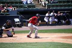 Pawtucket Red Sox batter Josh Reddick. Swings at a pitch Royalty Free Stock Photo