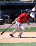 Pawtucket Red Sox batter Josh Reddick. Starts to run to first base Stock Photos