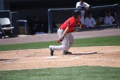 Pawtucket Red Sox batter Matt Sheely. Pawtucket Red Sox batter Matt Sheelswings at a pitch Stock Photo