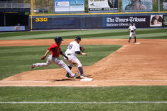 Pawtucket Red Sox batter Matt Sheely. Is out at first Royalty Free Stock Photo