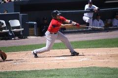 Pawtucket Red Sox batter Matt Sheely. Swings at a pitch Stock Photos