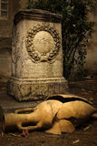 PAX AUGUSTA ALTAR. Ancient roman inscription. Narbonne. France Stock Image