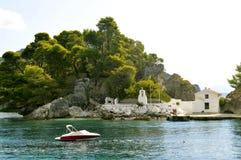 Paxos港口爱奥尼亚海的希腊海岛 库存图片