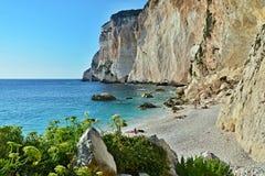 Paxos-взгляд Греции, острова скалы и пляжа Erimitis Стоковые Изображения