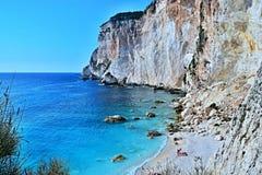 Paxos-взгляд Греции, острова скалы и пляжа Erimitis Стоковое Изображение RF