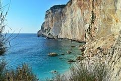 Paxos-взгляд Греции, острова скалы и пляжа Erimitis Стоковые Изображения RF
