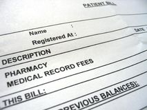 Pay the Bill. A blank medical bill stock photography