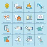 Pay Bill Icons Flat Line Royalty Free Stock Photography