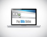 Pay bill online message on a computer laptop Royalty Free Stock Photos