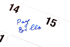 Pay Bills. In a calendar the daily log record Pay Bills, as a reminder on necessary payments Stock Photography
