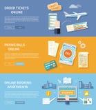Pay Bills, Booking Apartments, Order Ticket vector illustration