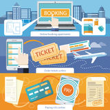 Pay Bills, Online Booking Apartments, Order Ticket. Paying bills payments online credit banner concept with buttons registration and about us. Online royalty free illustration