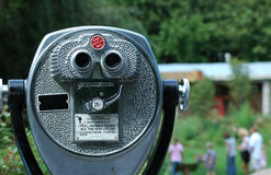Pay binoculars. Tourist binoculars overlooking the park Stock Images