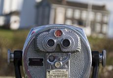 Pay Binoculars. In front of some building in Montauk, NY stock image