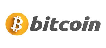 Pay with Bitcoin symbol 3d rendering design. Illustration Royalty Free Stock Photos