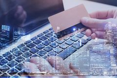 Free Pay By Card Online On Internet, Double Exposure Stock Photo - 113658300