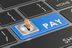 Pay concept, blue keyboard button. 3D rendering Stock Image