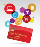 Pay with credit card. Credit card isolated with laptop, phone, shopping cart, gift icons Royalty Free Stock Image