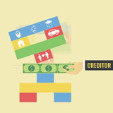 Pay. Creditor pull money from the game, metaphor Royalty Free Stock Photo