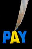Pay cut: the effect of recession. stock photo