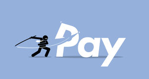 Pay cut. Vector artwork depicts salary cut, bonus reduction, less payroll Stock Image