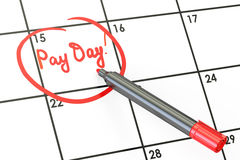 Pay day on calendar concept, 3D Royalty Free Stock Photography