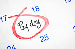Pay day on calendar. Royalty Free Stock Images
