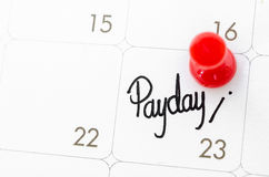 Pay day of the month. Pay day of the month on calendary page Royalty Free Stock Image