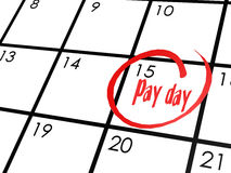Pay day word on calendar Stock Image