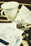 Pay the dinner bill royalty free stock images
