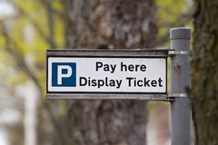 Pay and display car park sign stock photos