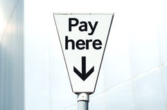Pay and display, Pay Here carpark sign Royalty Free Stock Photography