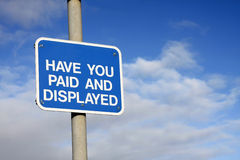 Pay and Display sign Stock Photos
