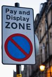 Pay and Display Zone sign. A close up of a pay and display zone road sign royalty free stock image