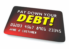 Pay Down Your Debit Credit Card Budget 3d Illustration royalty free illustration